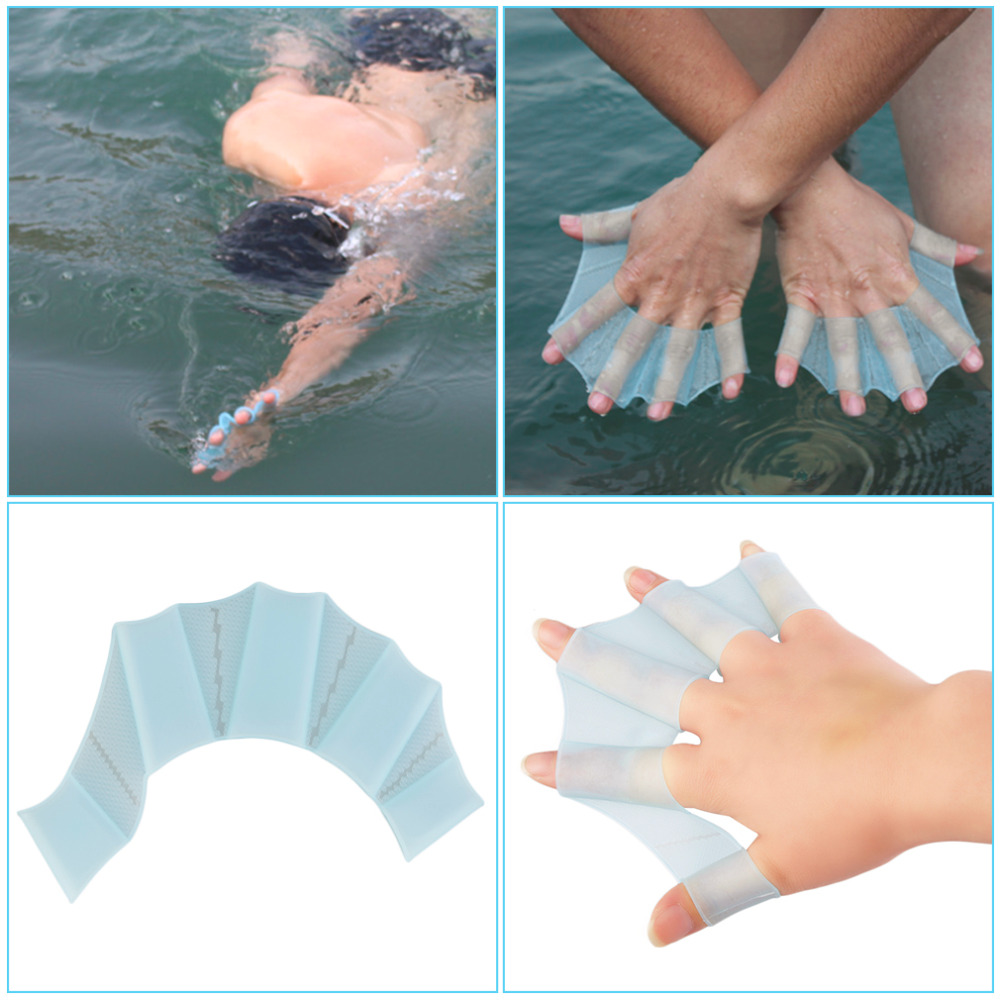 Frog Finger Webbed Gloves Silicone Hand Swimming Fins Handcuffs Flippers Swim Palm Paddle Improve Slip Swim Glove Equipment