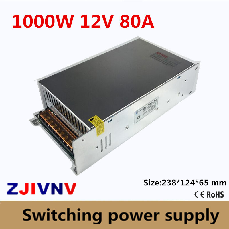 Small Volume Single Output 1000W Switching Power Supply 12V 80A Transformer AC110V or 220V TO DC SMPS for LED Light CNC Stepper sayoon dc 12v contactor czwt150a contactor with switching phase small volume large load capacity long service life