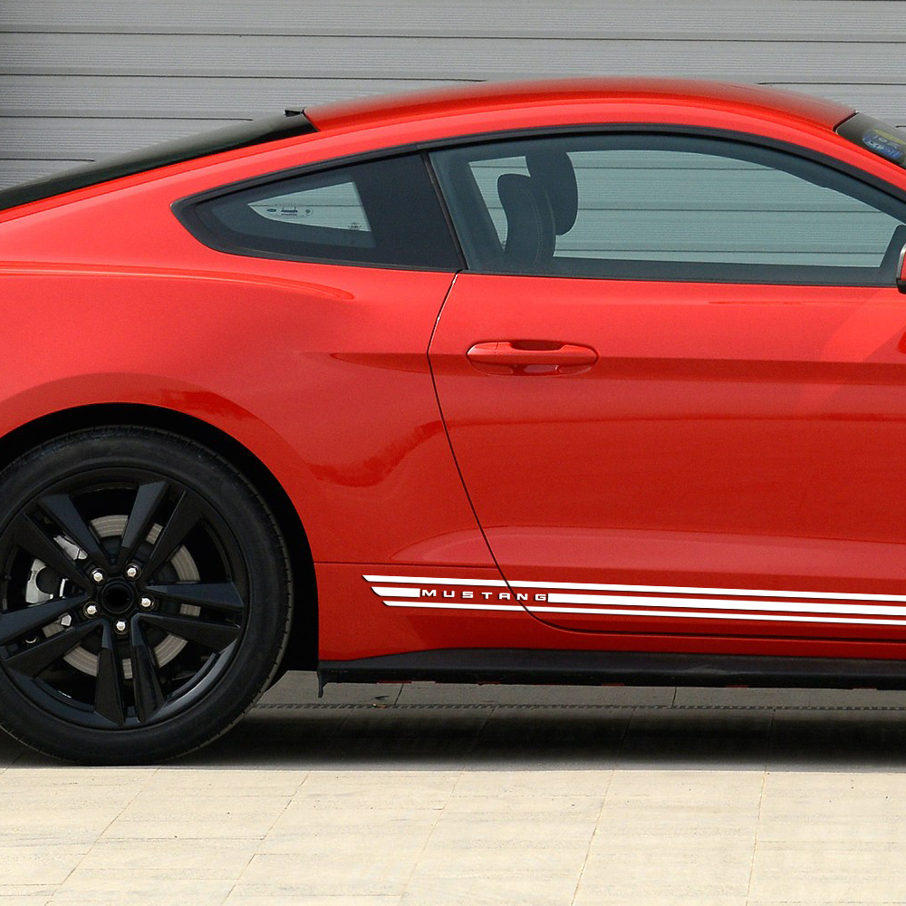 2 Pieces Rally Kit Racing Stripes Vinyl Decal Graphic Body Logo Door Side Skirt Stickers for Ford Mustang 2015 2017 Accessories in Car Stickers from Automobiles Motorcycles