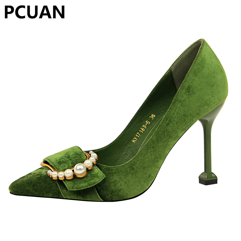 PCUAN fashion women's shoes high heel suede shallow mouth pointed sexy thin metal pearl belt buckle single shoes miss shoes bk07 4 shallow mouth high heel single shoes
