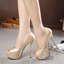 Stiletto Heels Einfache Schlank Heels Plattform Weichem Leder Silber High Heels Berühmte Schuhmarken Normal Pu Bling Frauen Helle Goldene