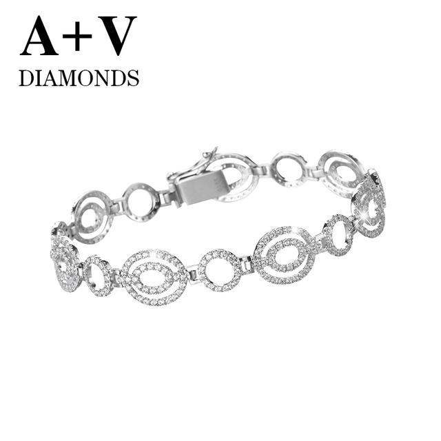 free shipping 18K white gold nature diamond luxurious classic round bracelet for women engagement wedding anniversary