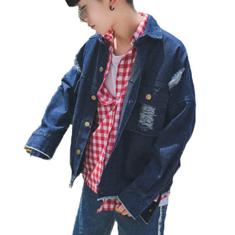 Autumn New 2017 Hole Black Blue Denim Jacket Men Distressed Ripped Hip Hop Oversized Korean Short Fashion Vintage Jeans Coat Men
