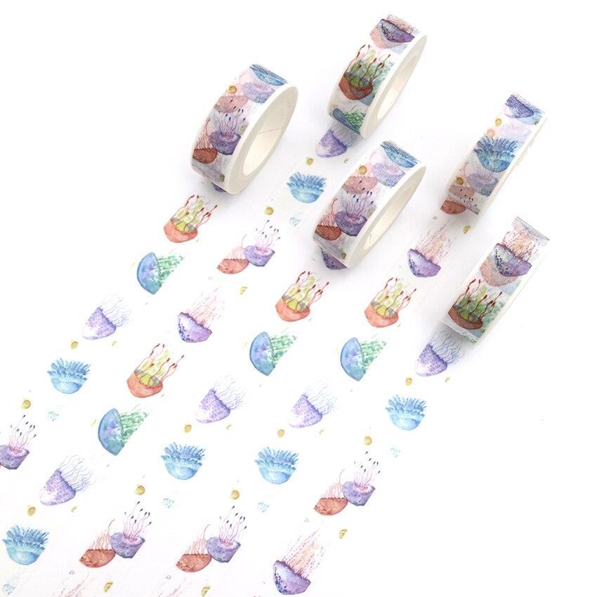 1 PCS Creative Colored Jellyfish Washi Tape Adhesive Paper Tape School Office Supplies DIY Scrapbooking Decorative Sticker Tape