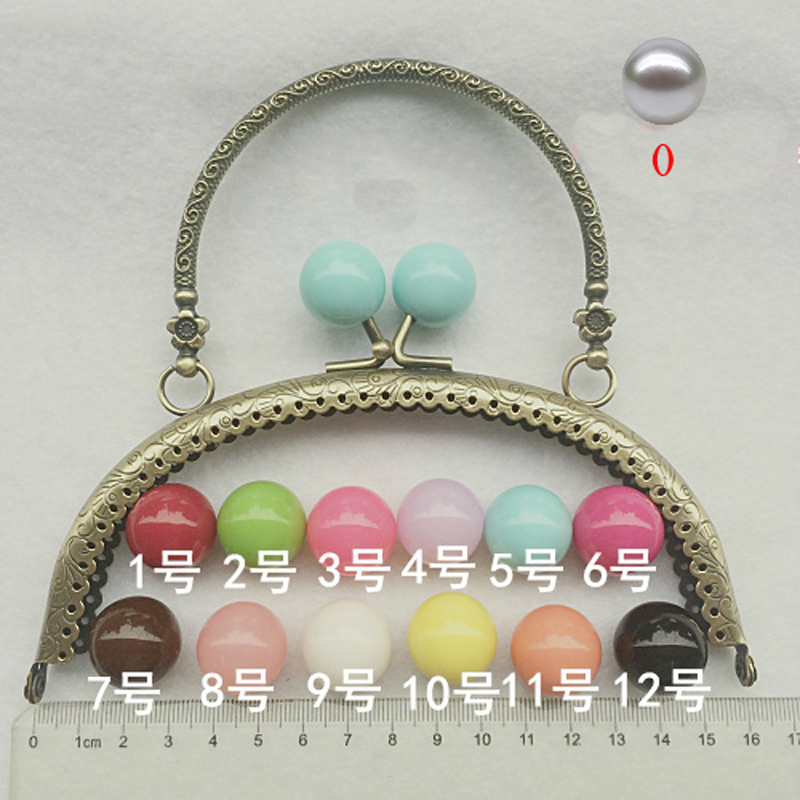 16cm Women Bag Making Metal Clasp With Candy Color Ball Kiss Buckle DIY Purse Frame 5pcs/lot