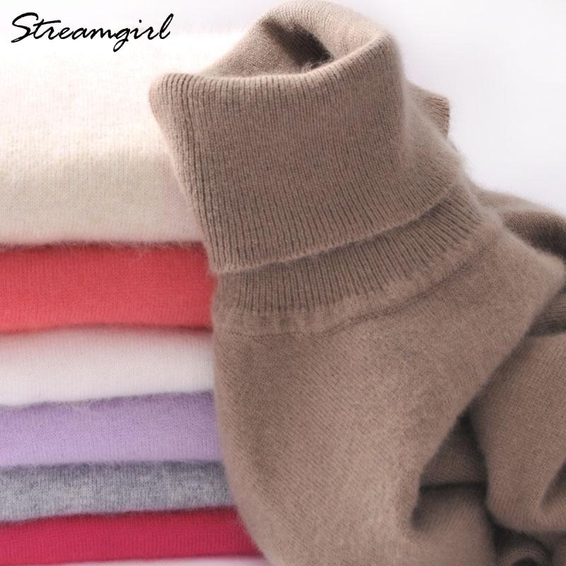 Suéter de Cachemira de las mujeres de cuello alto de las mujeres más el tamaño de punto de invierno suéter de cachemira para mujeres caliente suéteres Mujer