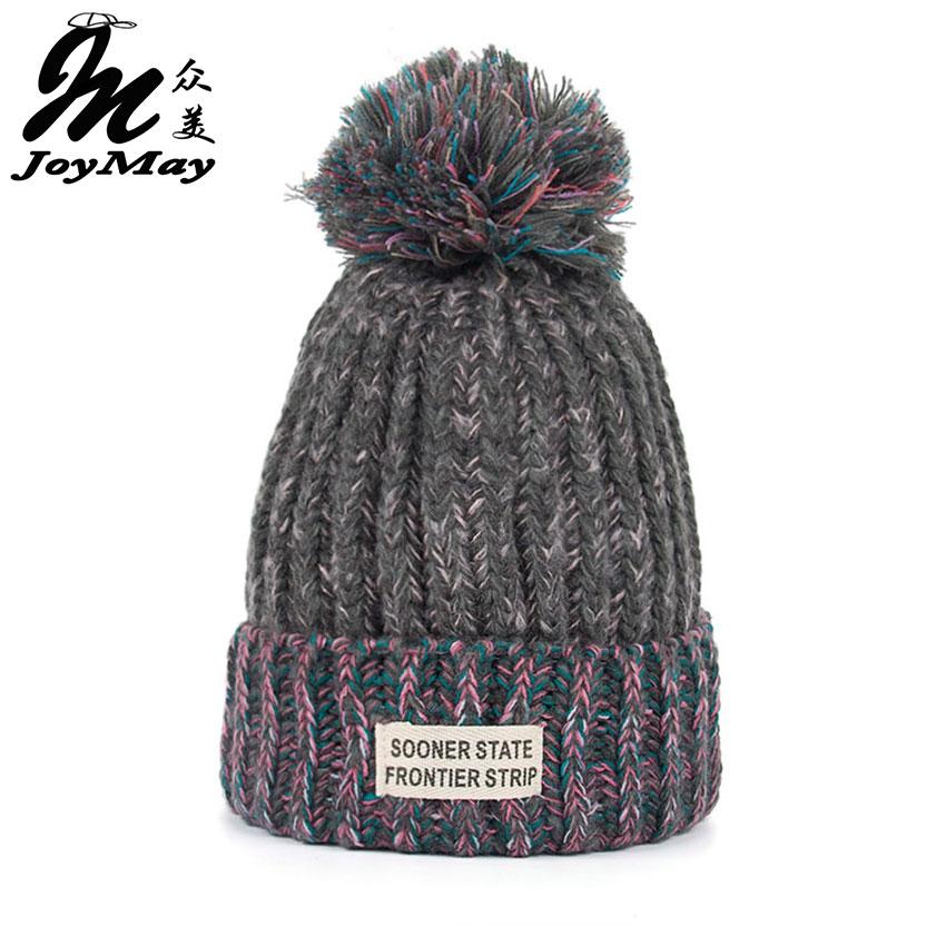 Joymay Woman Fashion Winter Knitting Hats with pompom Beanies Cap W222 skullies beanies winter woman fashion knitting hats with pompom beanies girls warm letter b cap