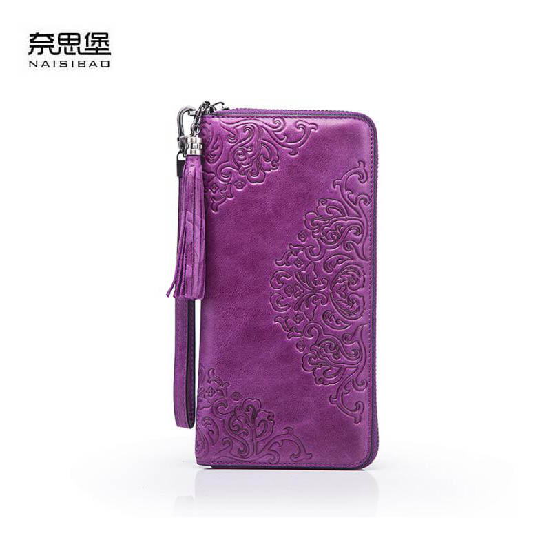 NAISIBAO 2018 New luxury women genuine leather bags fashion cowhide Embossed women clutch bag zipper women leather wallets long