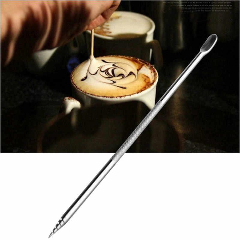 TTLIFE สแตนเลสสตีลกาแฟลาเต้โฟมปากกาเข็ม DIY เค้กขนมเค้กขนมเค้กแกะสลักตกแต่งเครื่องมือแกะสลักกาแฟปากกา Coffeeware