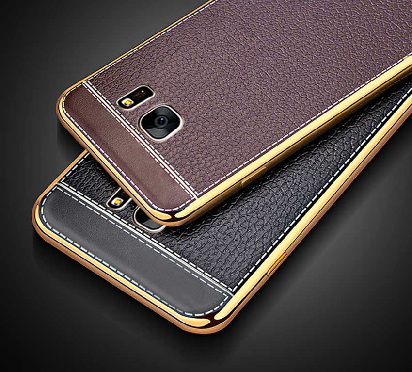 For Samsung Galaxy S6 S7 edge S8 S9 Plus Silicone Case For A5 2016 2017 Case Plating Bumper Leather Skin Soft TPU Phone Cover