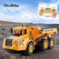 2.4Ghz RC Engineer Truck Emulational Dumper Remote Control With LED lights One button Automatic unloading Baby Boy Toy Car Gift
