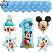 13pcs Mickey Minnie Number 1 First Birthday Girl Boy Foil Balloons Kids Party Decoration Helium Balloon Supplies
