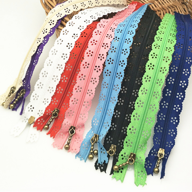 35cm Random Color 10pcs/lot Zippers Lace Nylon Finish Zipper for Sewing Wedding Dress AA7462