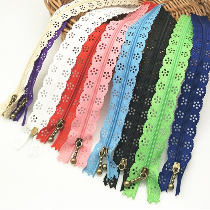 35cm Random Color 10pcs/lot Zippers Lace Nylon Finish Zipper for Sewing Wedding Dress AA7462