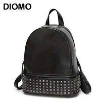 2016 Genuine Leather Backpack Women Rivet Small Backpack