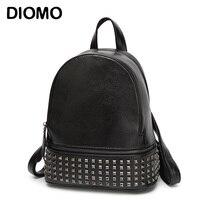 2016 Genuine Leather Backpack Women Rivet Small Backpack