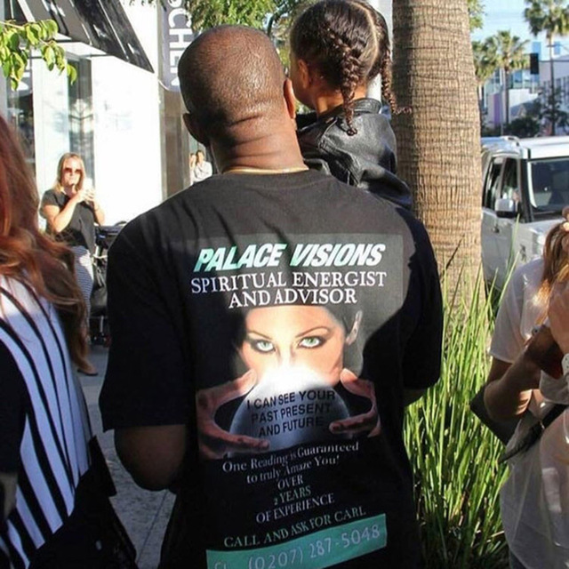 2017 Новый Kanye West Дворец Видения Майка Мужчины Женщины 100% Хлопок Духовного Energist Высокое Качество Дворец Футболки Мужчины Трэшер тройник