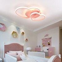 Hanging Wedding Girls Room Light Pink Heart Ceiling Light With Remote Control Modern Led Gold Ceiling Lamp 110V 220V For Bedroom