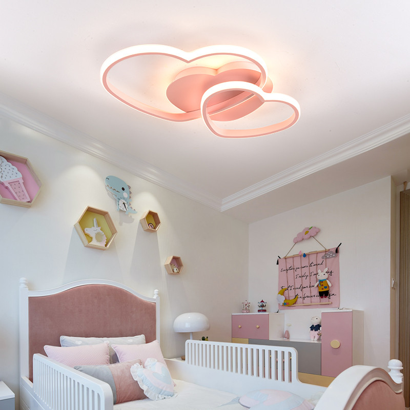 Princess Girls Led Room Bedroom Light Home Lighting Heart Modern Led Ceiling Light Remote Control Gold Ceiling Lamp 110V 220V