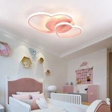 Prinzessin Mädchen Led Zimmer Schlafzimmer Licht Hause Beleuchtung Herz Moderne Led deckenleuchte Fernbedienung Gold Decke Lampe 110V 220V