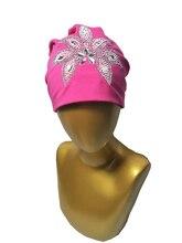 B17926 2017 Мода bling bling хрустальный цветок шапочки эластичный хлопок горный хрусталь девушки шляпы для женщин