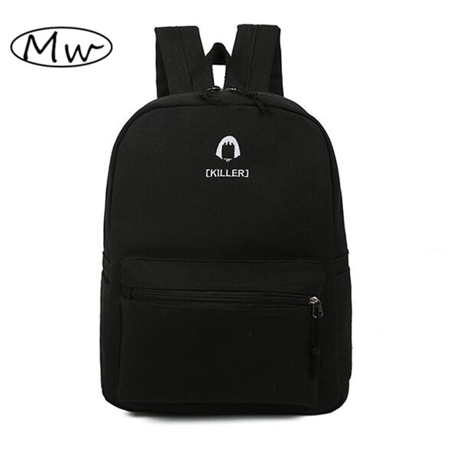 2016 New Black White Canvas Embroidery Letters Backpack Unisex Casual Backpack School Bags For Teenager Boys And Girls Mochila