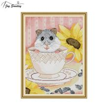 Joy Sunday Mouse In The Cup Cross Stitch Kits Embroidery Needlework Set Printed Canvas Fabric Aida Cloth 14ct Count Cross-stitch
