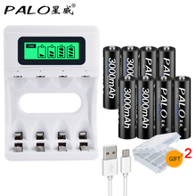 PALO  8pcs 3000mAh 1.2v AA rechargeable battery+USB LCD smart battery charger  for AA / AAA NiCd NiMH rechargeable batteries цена 2017