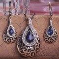 Lujo Bijouterias Peacock Waterdrop oro antiguo traje indio turco Jewelry Set Vintage joyería Brincos De Bijou Turca