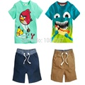 DT0190 new 2014 kids clothes boy boys 2 pieces clothing sets child children t- shirts + shorts suits summer cotton clothing
