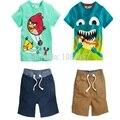 DT0190 novos 2014 crianças roupas menino meninos 2 peças de roupas conjuntos criança crianças t-shirts + shorts ternos de verão de algodão roupas