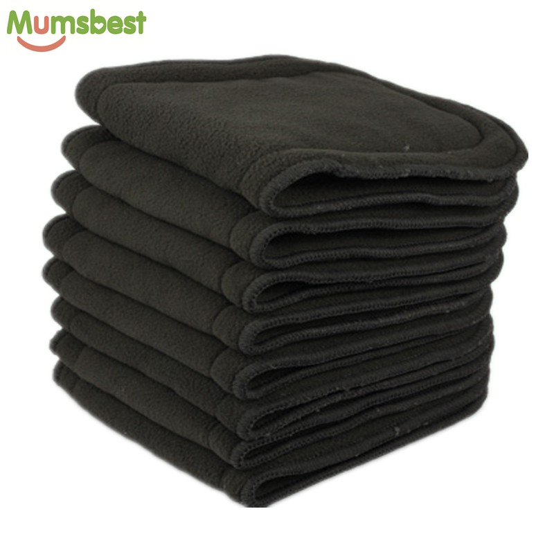 [Mumsbest] 40 Pcs Bamboo Charcoal Inserts For Baby Cloth Diaper Reusable Washable Liners For Real Pocket Cloth Nappy