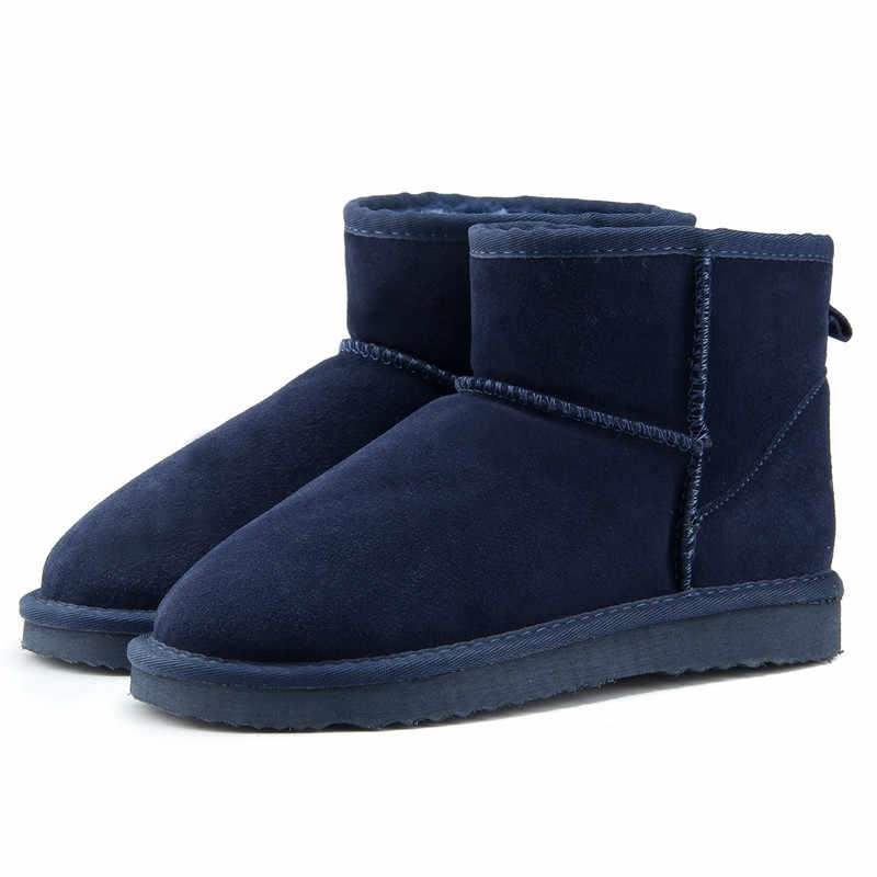 JXANG High Quality  Australia Brand Winter Women's Snow Boots Cow Split Leather Ankle Shoes Woman Fur Botas Mujer Big Size