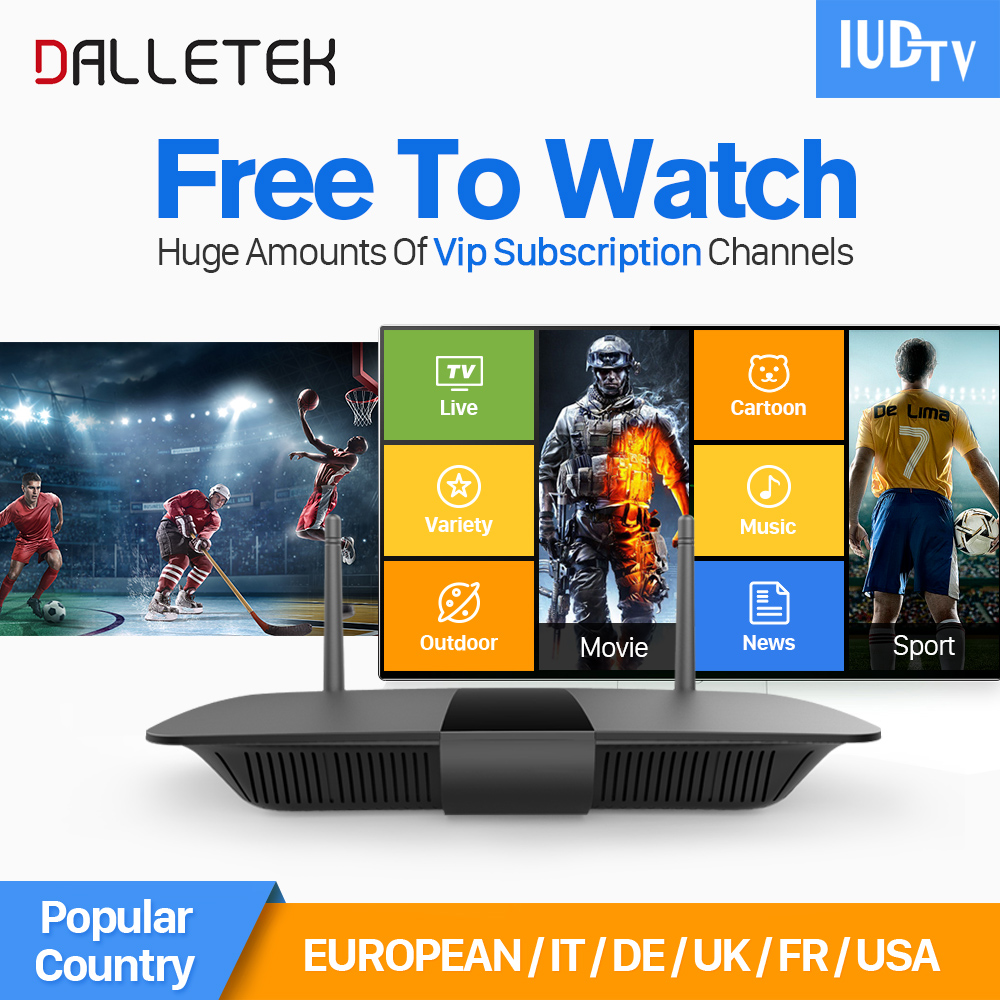 Dalletektv Smart TV Box Q1504 Android Tv Box 1 Year Iudtv IPTV Europe Arabic Italy Germany Africa America 1700 Channels IPTV Box