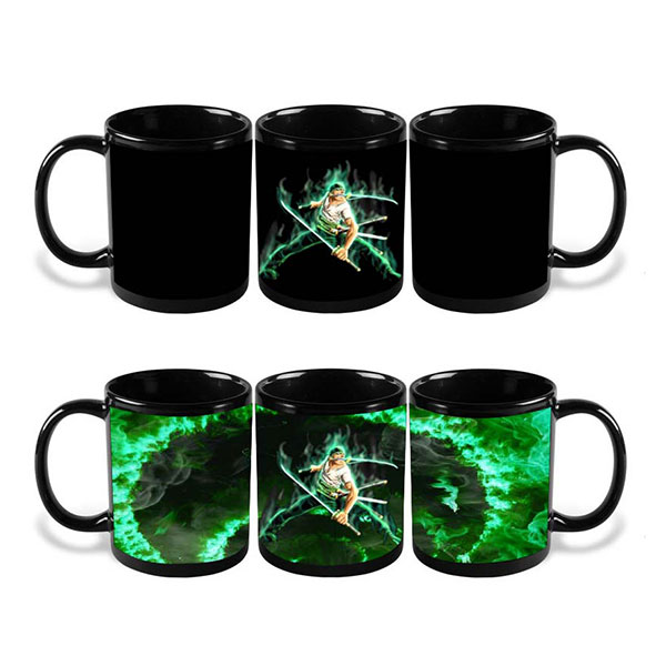 One Piece Luffy Zoro Mug Hot Changing Color Heat Reactive Tea Coffee Cup Magic Ceramic Mug