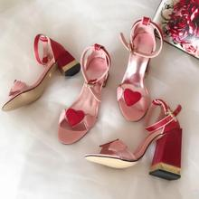 Luxury Girls Party Sandals Pink High Heel Sandal Red Heart 6CM 10CM Sweet Shoes Summer