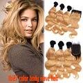 Malaio Onda Do Corpo Do Cabelo Virgem Ombre 3 Pacotes Com Fechamento 1B/27 # Honey Blonde Feixes Molhado E Ondulado tecer Com Fecho