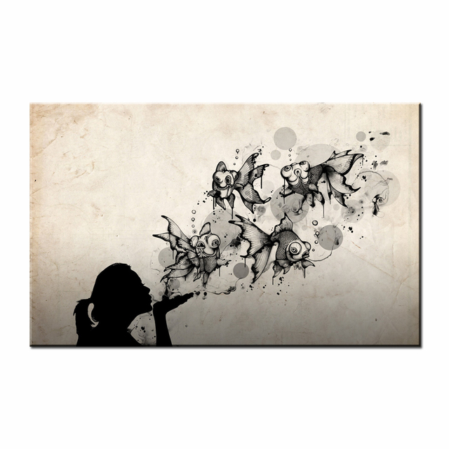 Canvas art print abstract girl golden fish canvas printing water color retro art black and white