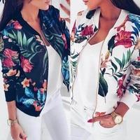 8 цветов, женские куртки с цветочным принтом в стиле ретро, женские на молнии, короткие тонкие куртки-бомберы, пальто, базовая Повседневная В...