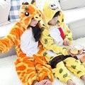 Inverno Quente de manga Comprida Pijamas Crianças Dos Desenhos Animados Fulvo E Esponja Cosplay Animal Macacão de Flanela Crianças Sleepwear Meninos Meninas Pijamas