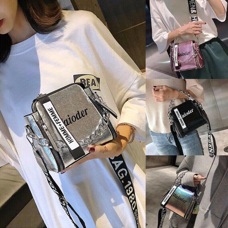 NOENNAME Frauen Taschen Geldbörse Leder Handtasche Messenger Bag Laser Cross Body Shoulder Handbag
