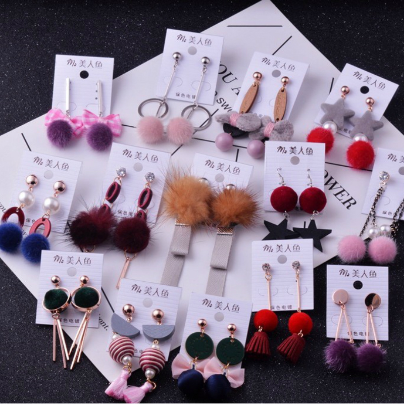 Wholesale 10/20/50 Pairs Mixed Lots Long Tassel Pom Pom Earrings Cute Brincos Geometric Pendientes Dangle Earrings Women Gift pom pom drop earrings