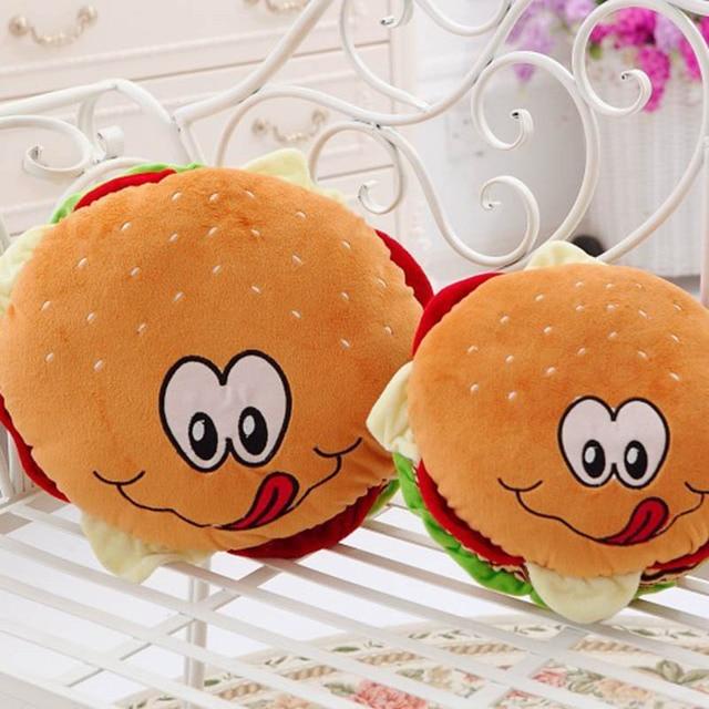 Cute Plush Toys Hamburger Pillow Cartoon Round Cushion Household - Hamburger-scatter-cushions