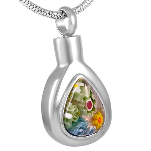 Teardrop Shaped Memorial Pendant With Murano Glass