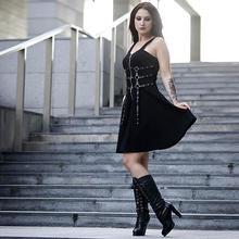 Sexy gothique femmes robe oeillet web fermeture à glissière harajuku rock noir mini robes été 2019 sans manches dos nu a-ligne punk AD