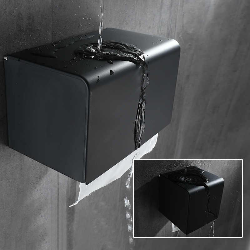 אמבטיה מחזיק נייר אלומיניום שחור אמבטיה נייר רול קצר בעל רקמות מחזיק תיבת טואלט מתלה נייר מחזיק רקמות קופסות