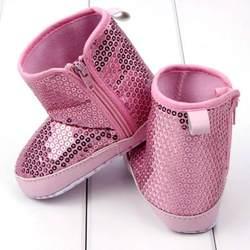 Новинка 2017 года Зима младенческой Дети для маленьких девочек модные Блёстки Высокие сапоги мягкая подошва против скольжения Обувь для