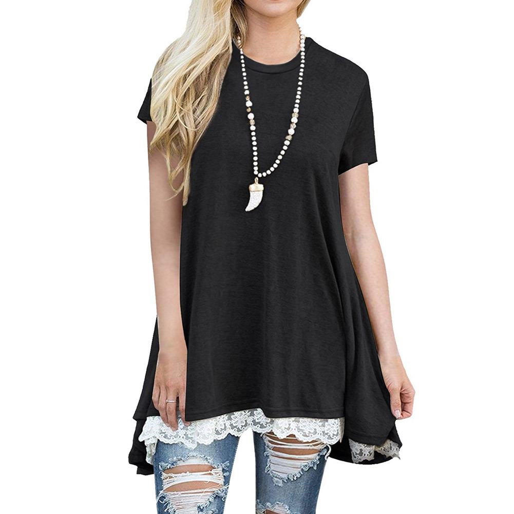 2018 New Fashion Short Sleeve T Shirt Women Lace Patchwork T-shirts Women Tops Plus Size XXL Solid Tshirt Women Casual Tops Tees