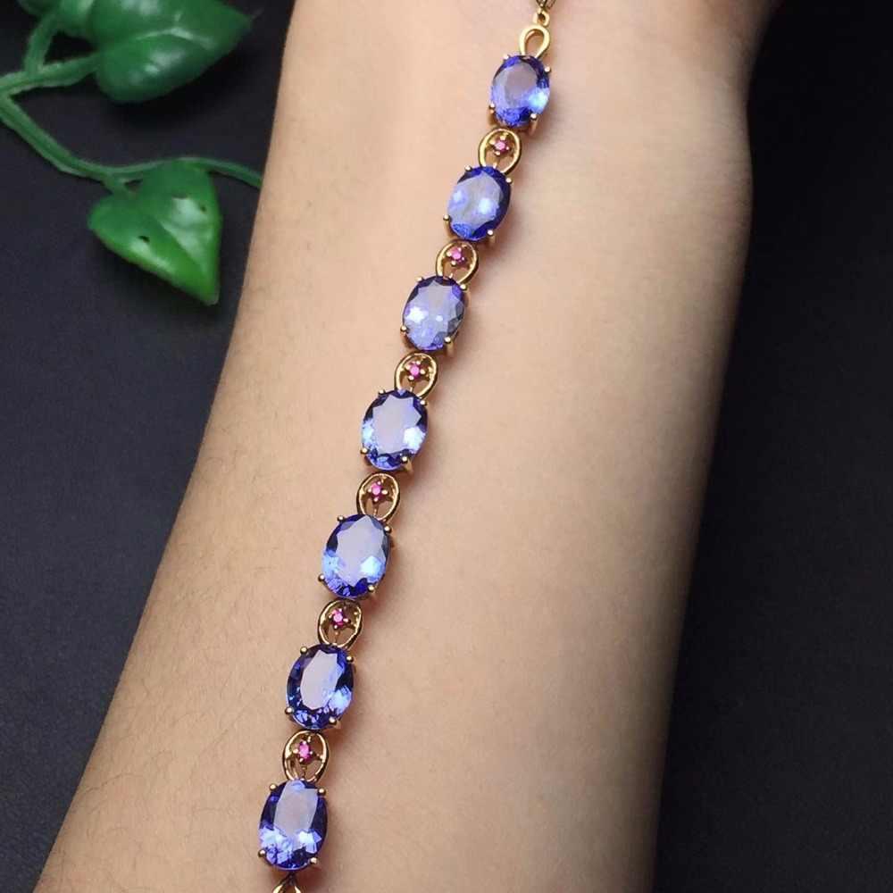 Jóias finas real 18 k ouro rosa au750 g18k 100% natural tanzânia tanzanite pedras preciosas jóias pulseiras para mulheres pulseira fina