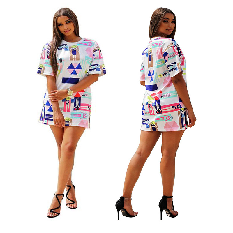 688e10a9524 Detail Feedback Questions about Summer Novelty Streetwear Casual T Shirt  Dress O Neck Short Sleeve Loose Vestidos Women Beach Fashion Printed Mini  Robes ...